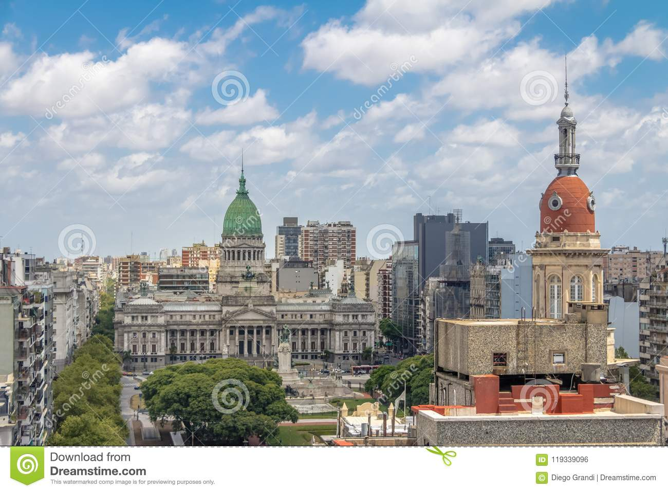 Aerial view of National Congress and La Inmobiliaria building tower - Buenos Aires, Argentina