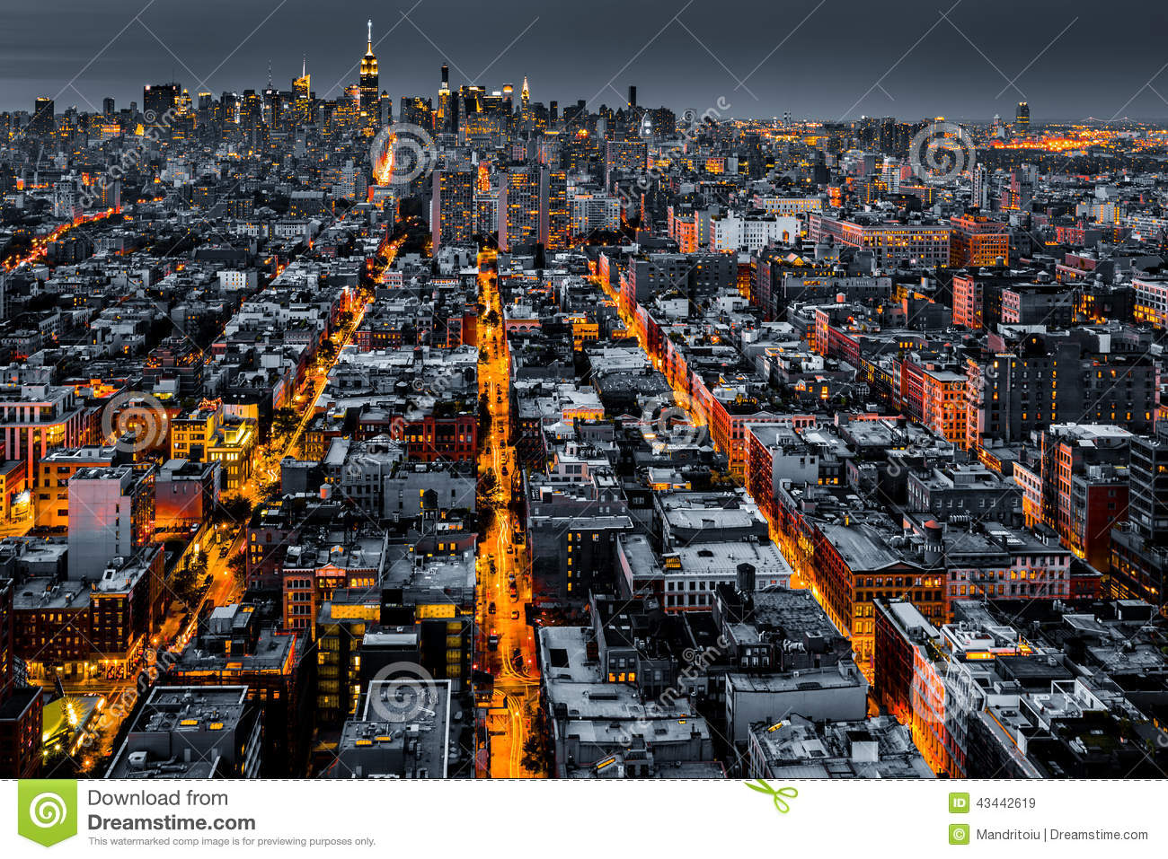 Aerial view of New York City at night