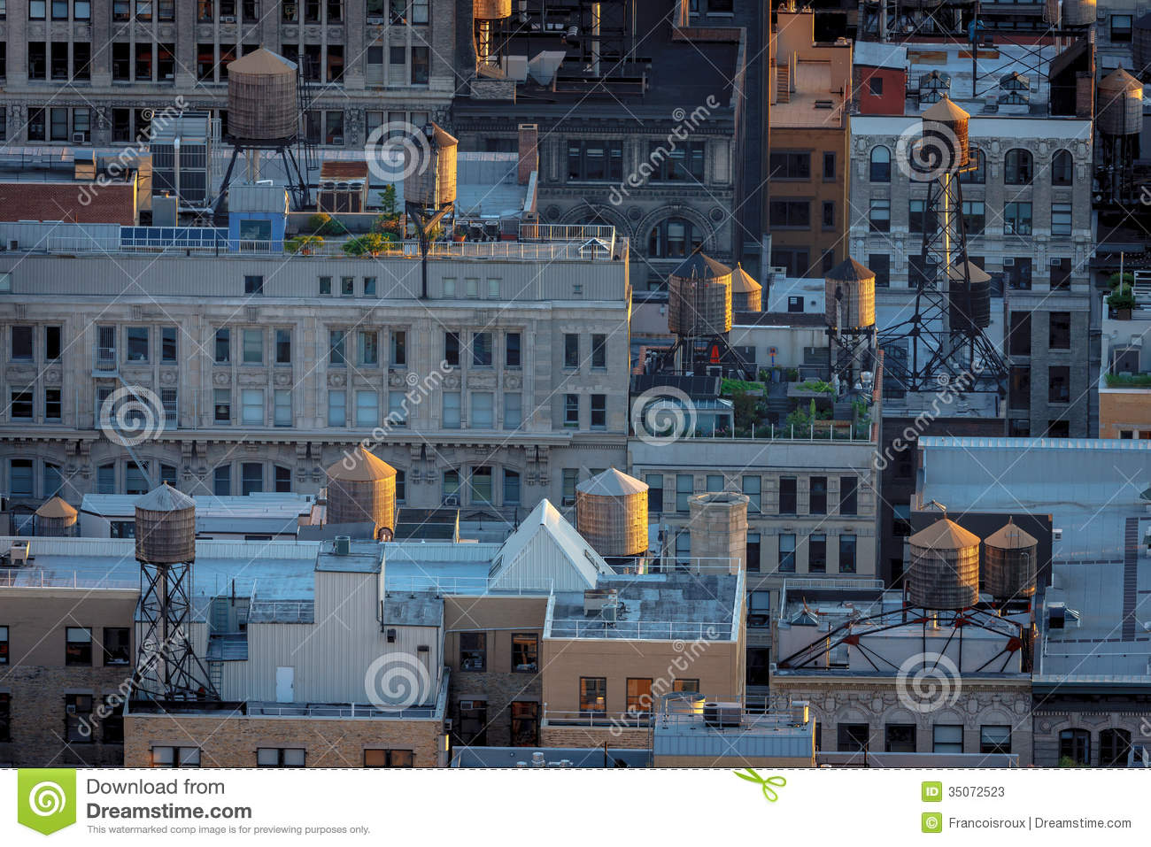 Aerial View Of New York Rooftops And Water Towers Stock