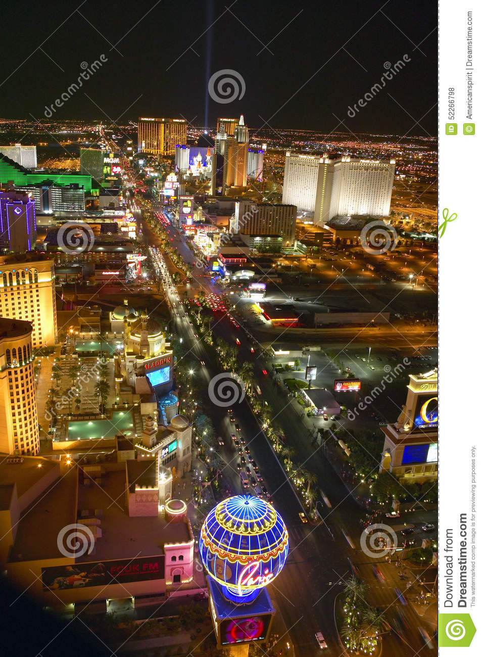 Las Vegas Night View: Aerial View At Night From Eiffel Tower Of Las Vegas Strip