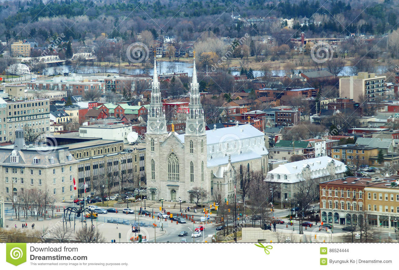 aerial view of Notre-Dame Cathedral Basilica