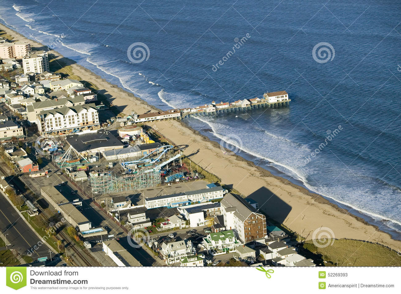 aerial view of old orchard beach downtown pier new hotel. Black Bedroom Furniture Sets. Home Design Ideas