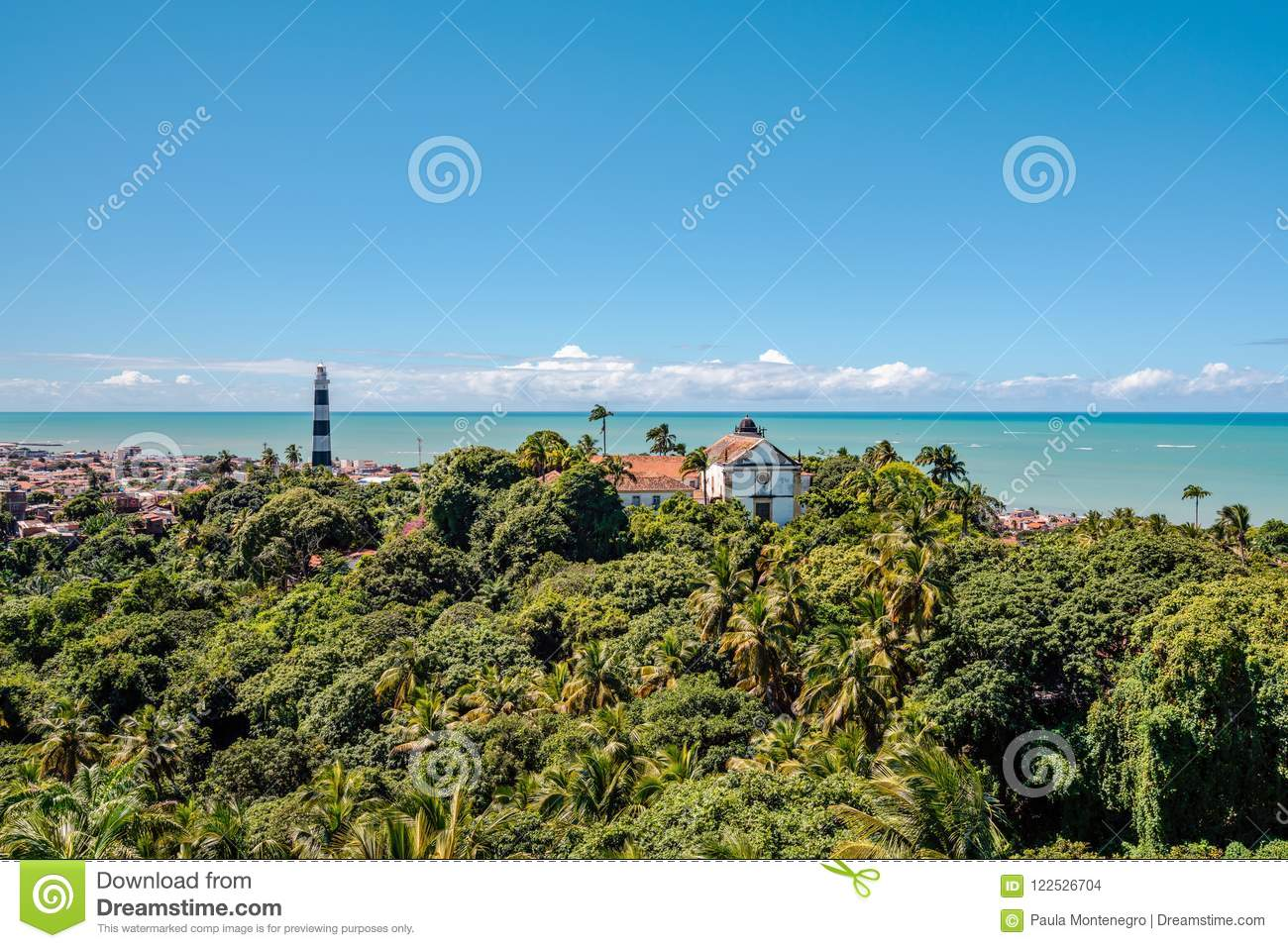 Aerial view of Olinda Lighthouse and Church of Our Lady of Grace, Catholic Church built in 1551, Olinda, Pernambuco, Brazil