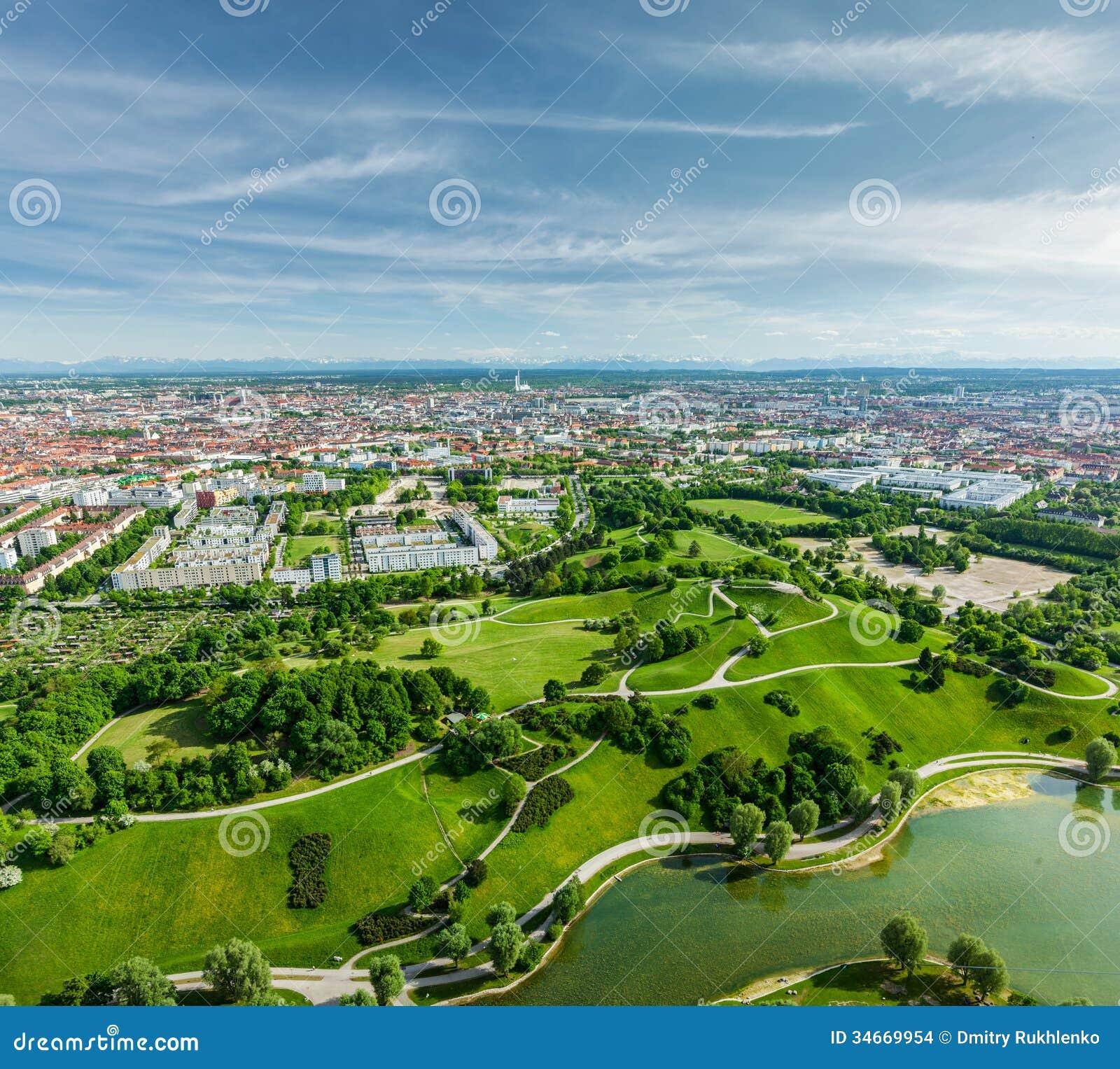 Aerial View Of Olympiapark Munich Bavaria Germany