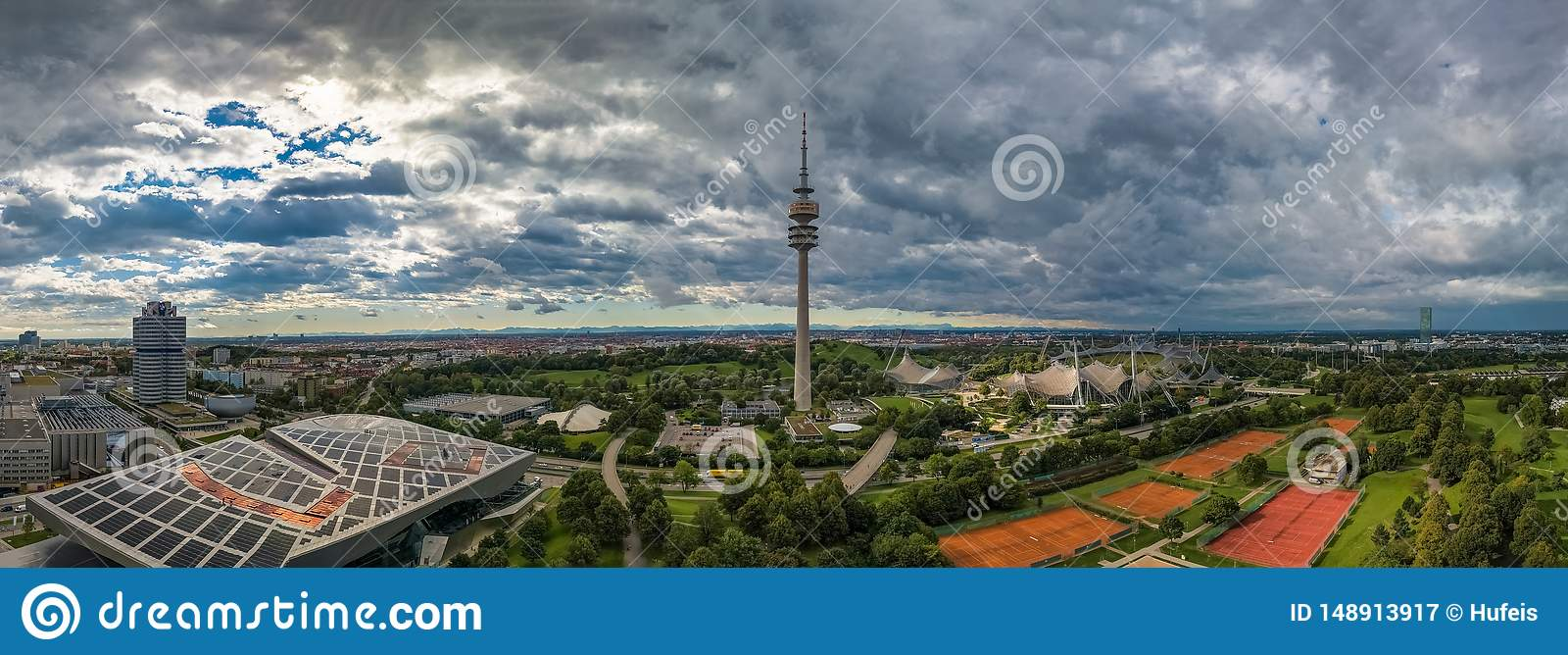 Aerial view of Olympiapark and the Olympiaturm Olympic Tower Munich.
