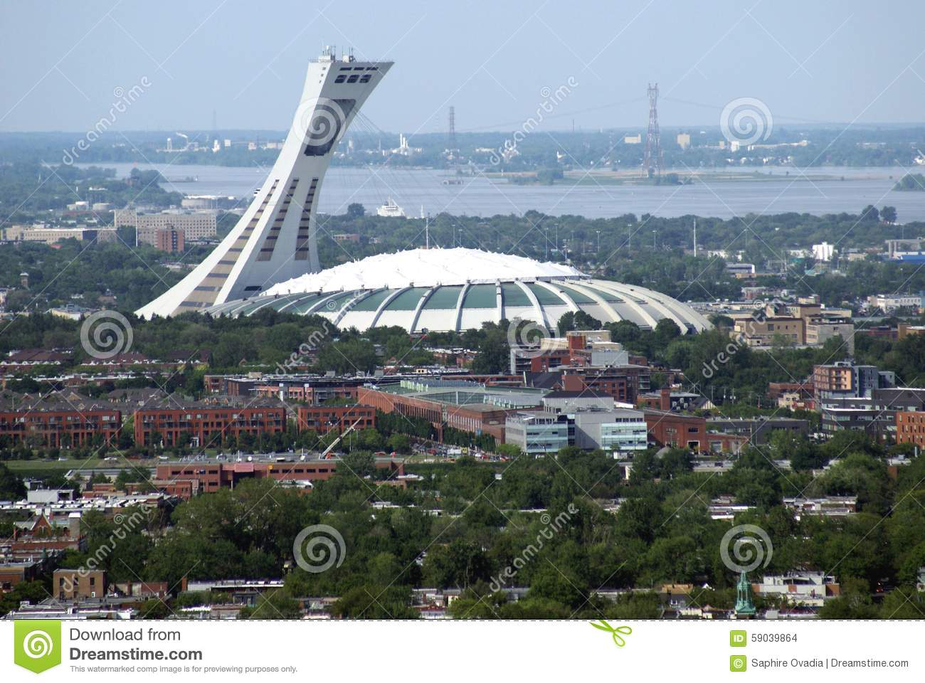 Aerial view of the olympic stadium montreal city in for Piscine hochelaga