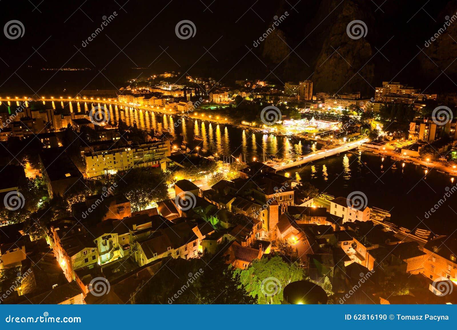 Aerial View of Omis and Cetina River at Night, Dalmatia