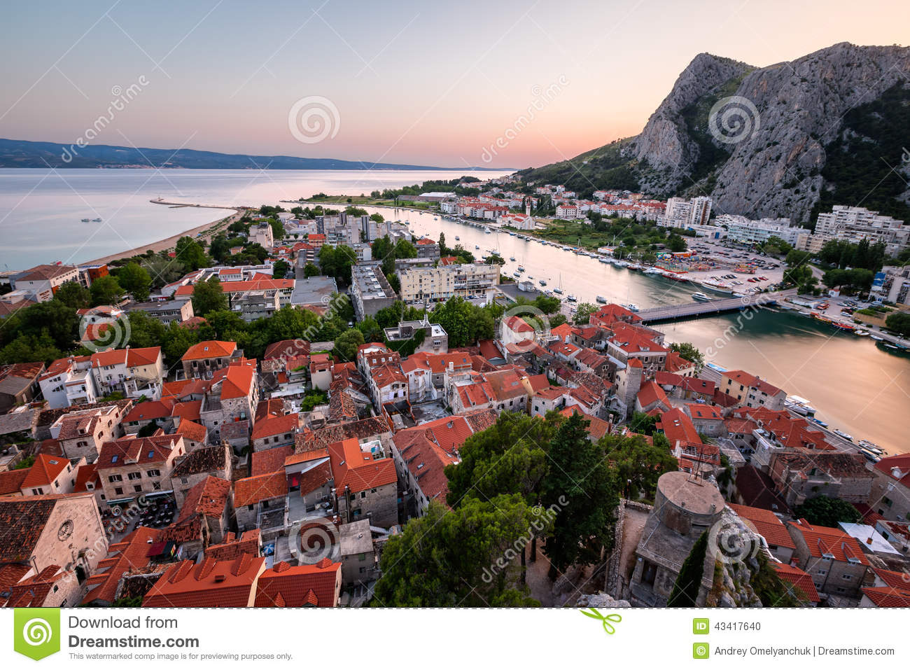 Aerial View on Omis Old Town and Cetina River, Dalmatia