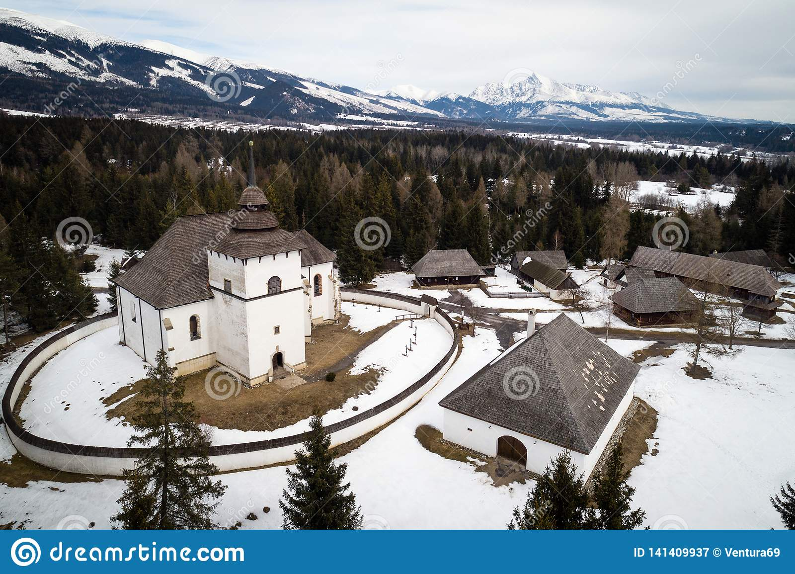 Aerial view of open-air museum in Pribylina, Slovakia
