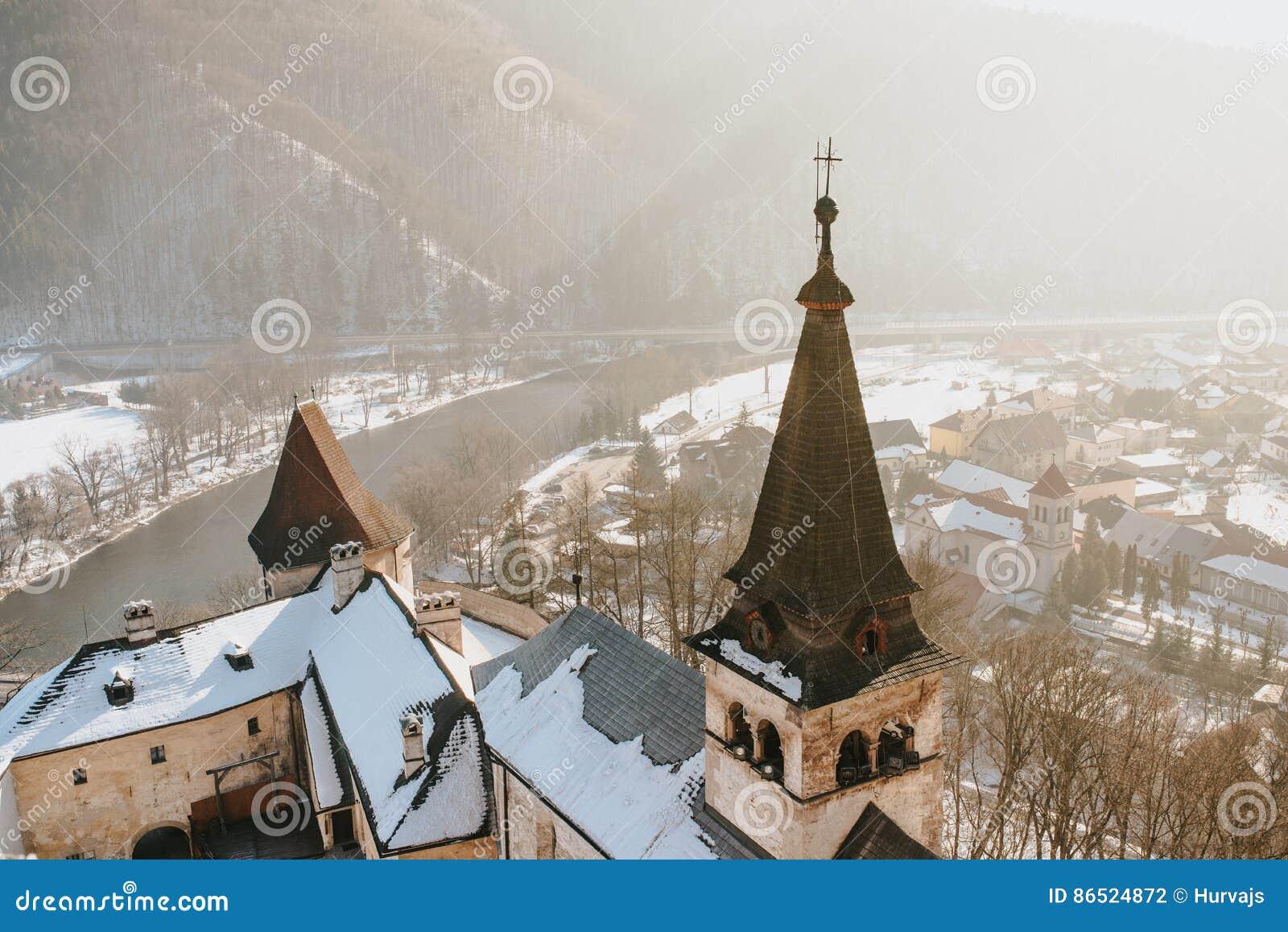 Aerial view of Oravsky Podzamok from Orava Castle in Slovakia.