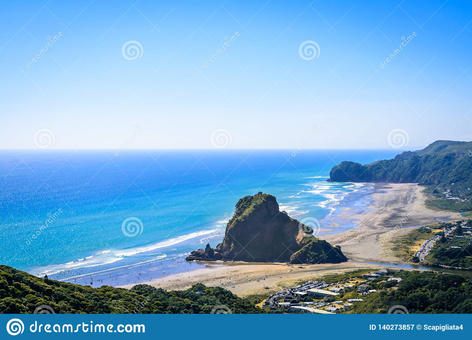 Aerial view over Piha beach, mighty Lion Rock in the centre, on the West coast of Auckland, New Zealand