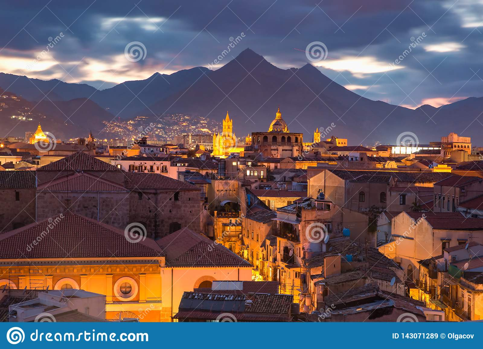 Palermo At Sunset Sicily Italy Stock Image Image Of