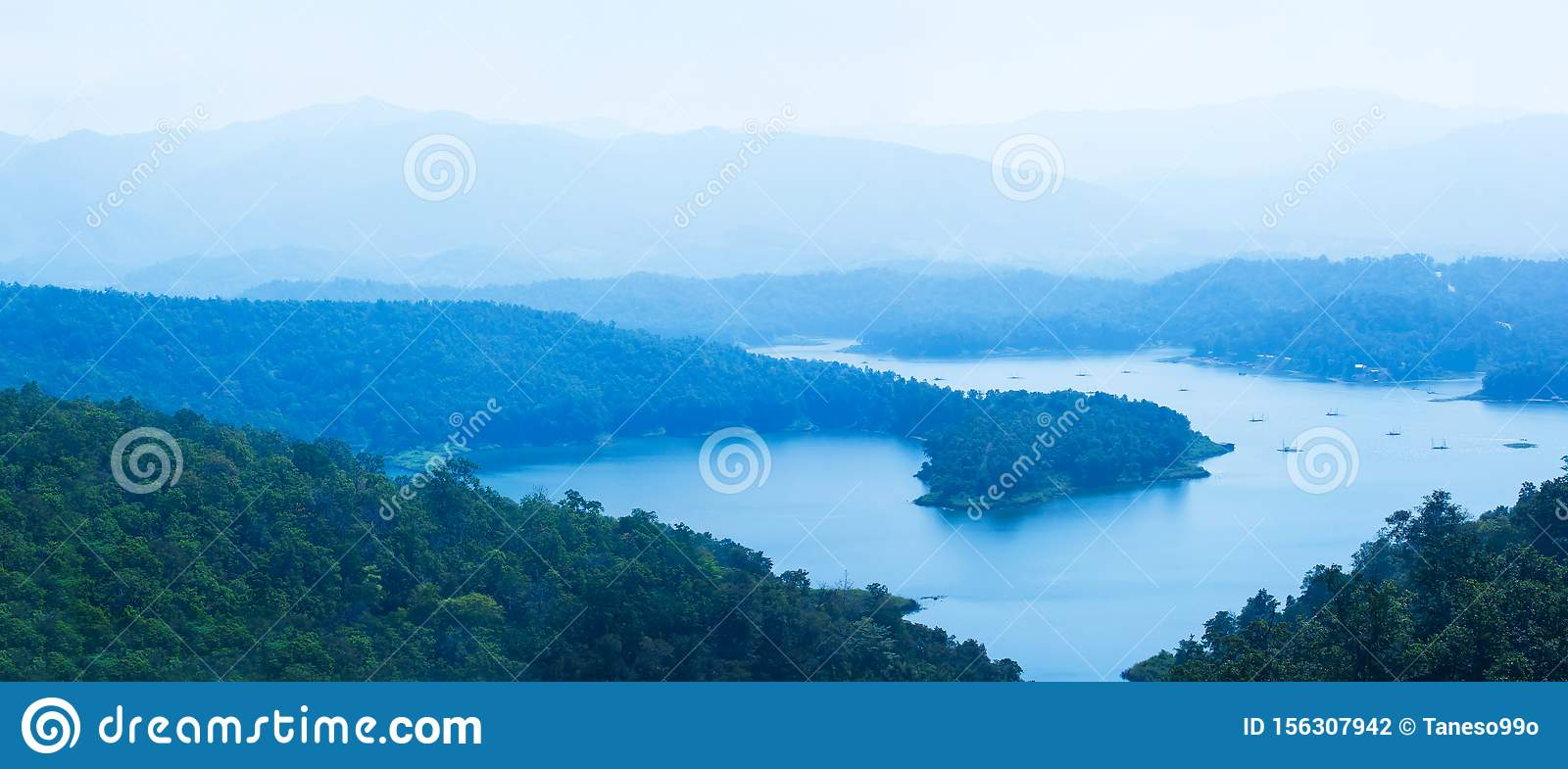 Aerial view panorama of the blue lake in a mountain range