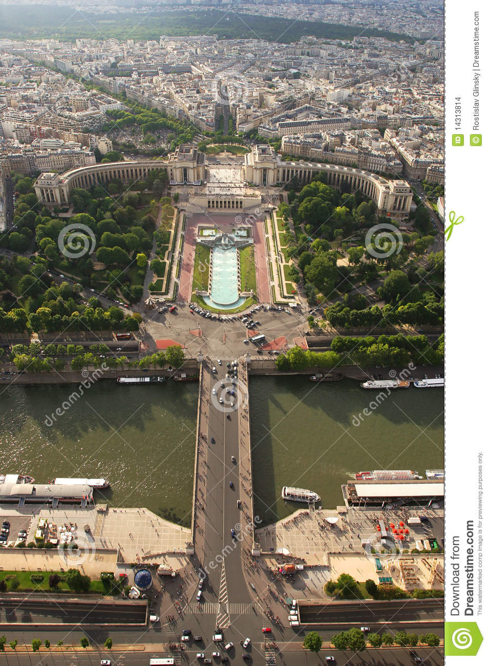 Aerial view on Paris. stock photo. Image of architectural ...