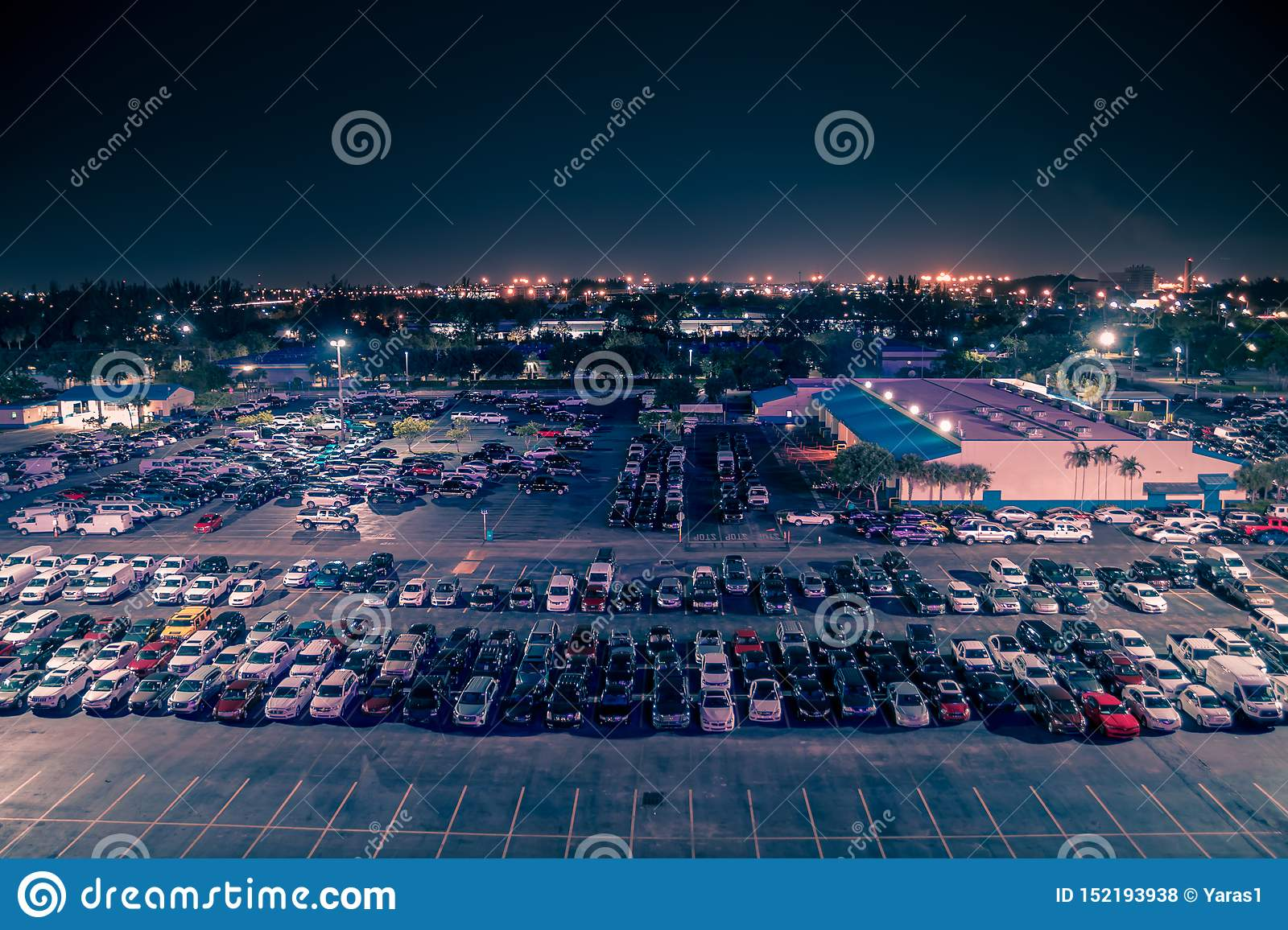Aerial View On Parking Lot Of Manheim Auto Auction At Night