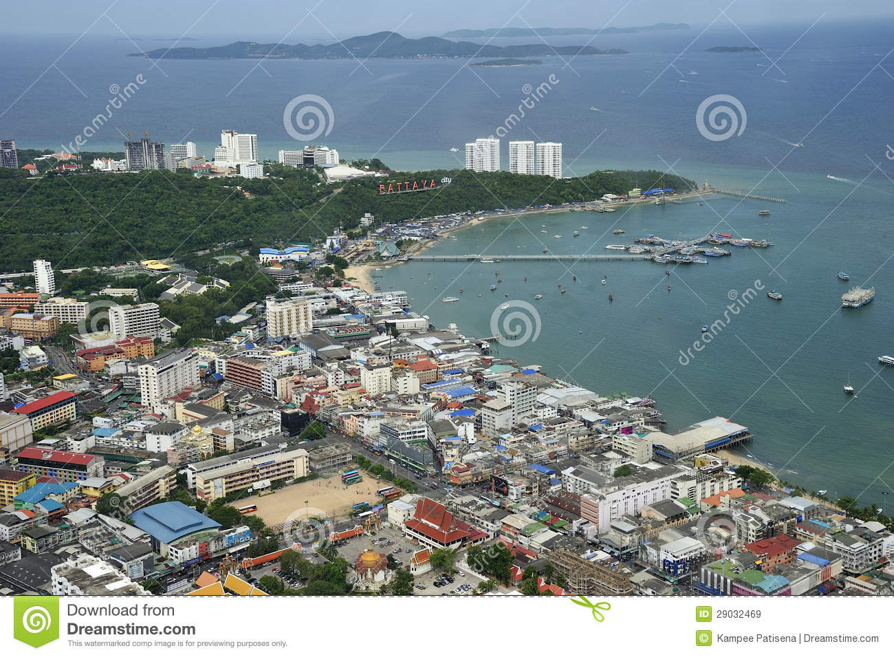 Chonburi Thailand  City new picture : Aerial View Of Pattaya City, Chonburi, Thailand. Royalty Free Stock ...
