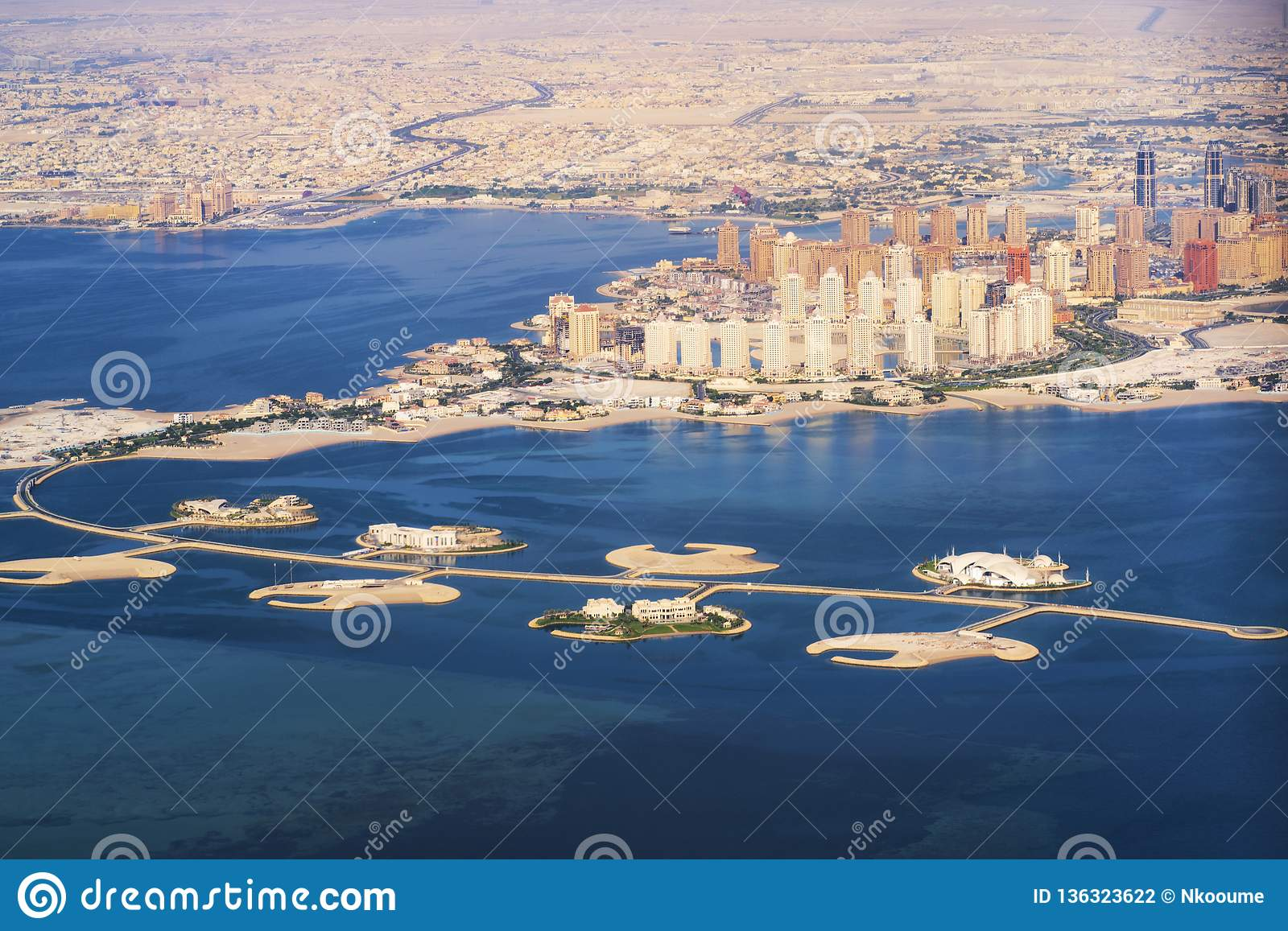 Aerial view of the Pearl-Qatar island in Doha . Qatar, the Persian Gulf. Persian Gulf