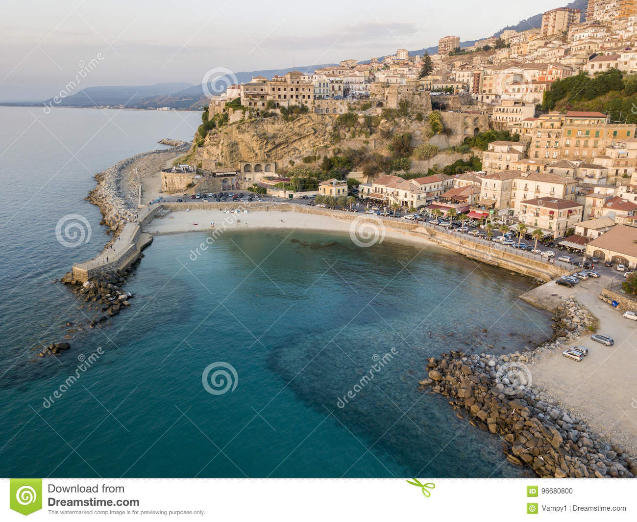 Aerial view of Pizzo Calabro, pier, castle, Calabria, tourism Italy. Panoramic view of the small town of Pizzo Calabro by the sea