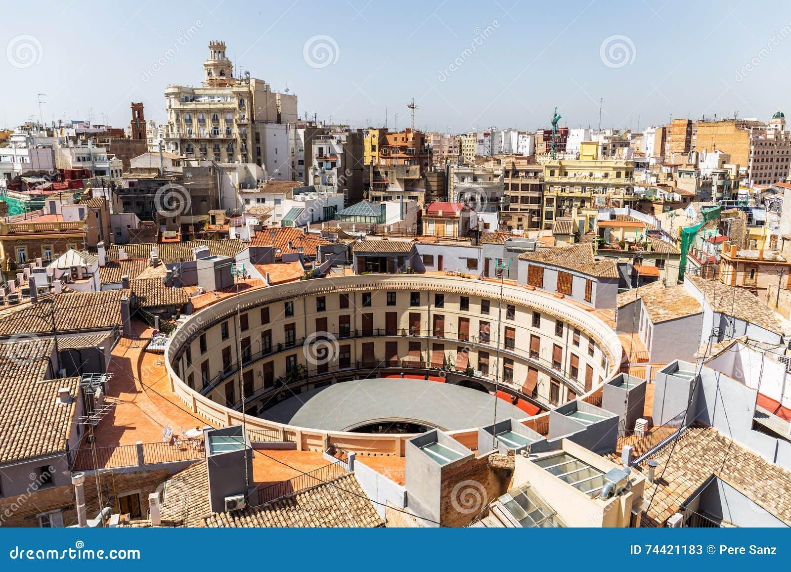Aerial view of plaza redonda valencia spain stock image - Piscine valencia espagne ...