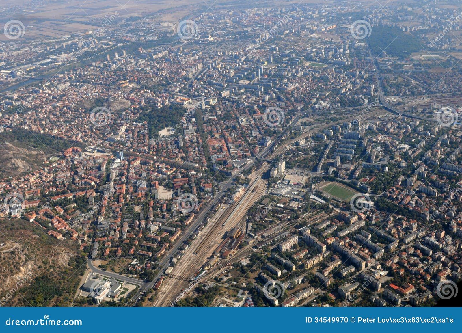 Aerial view of Plovdiv in southern Bulgaria. Plovdiv (Bulgarian ...