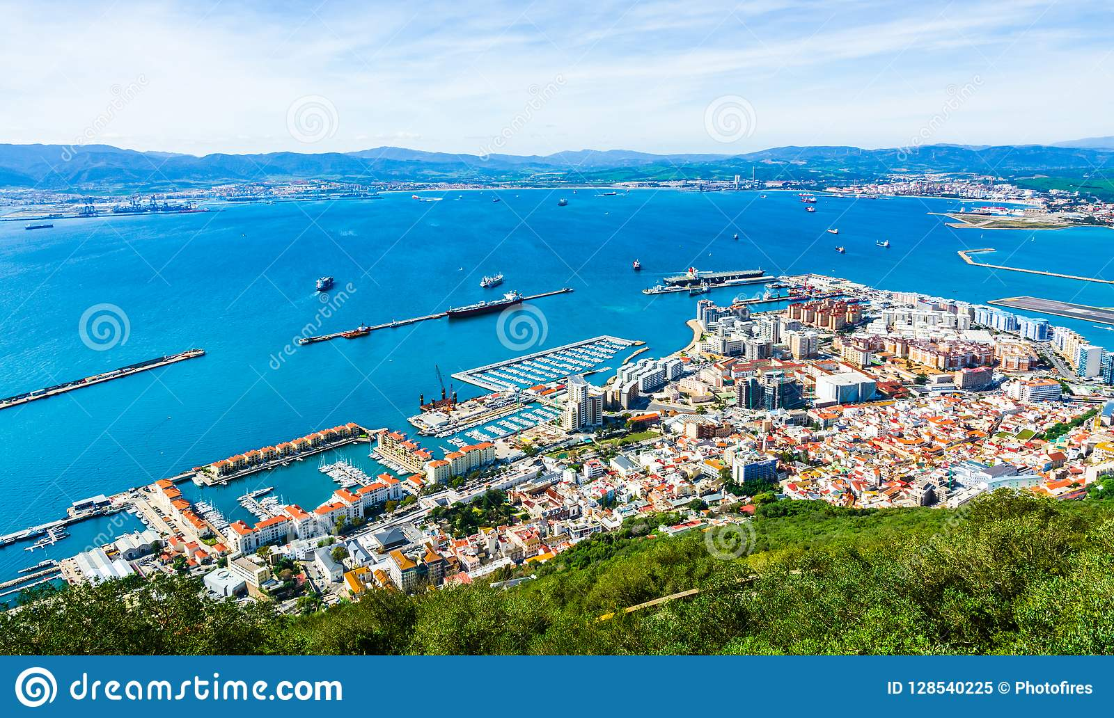Aerial view of the port in Gibraltar