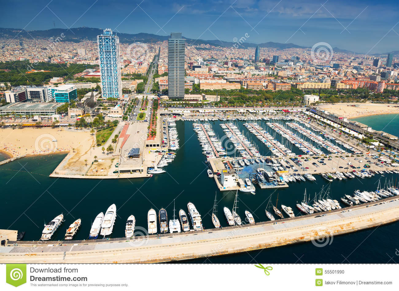 Aerial view of Port Olimpic. Barcelona