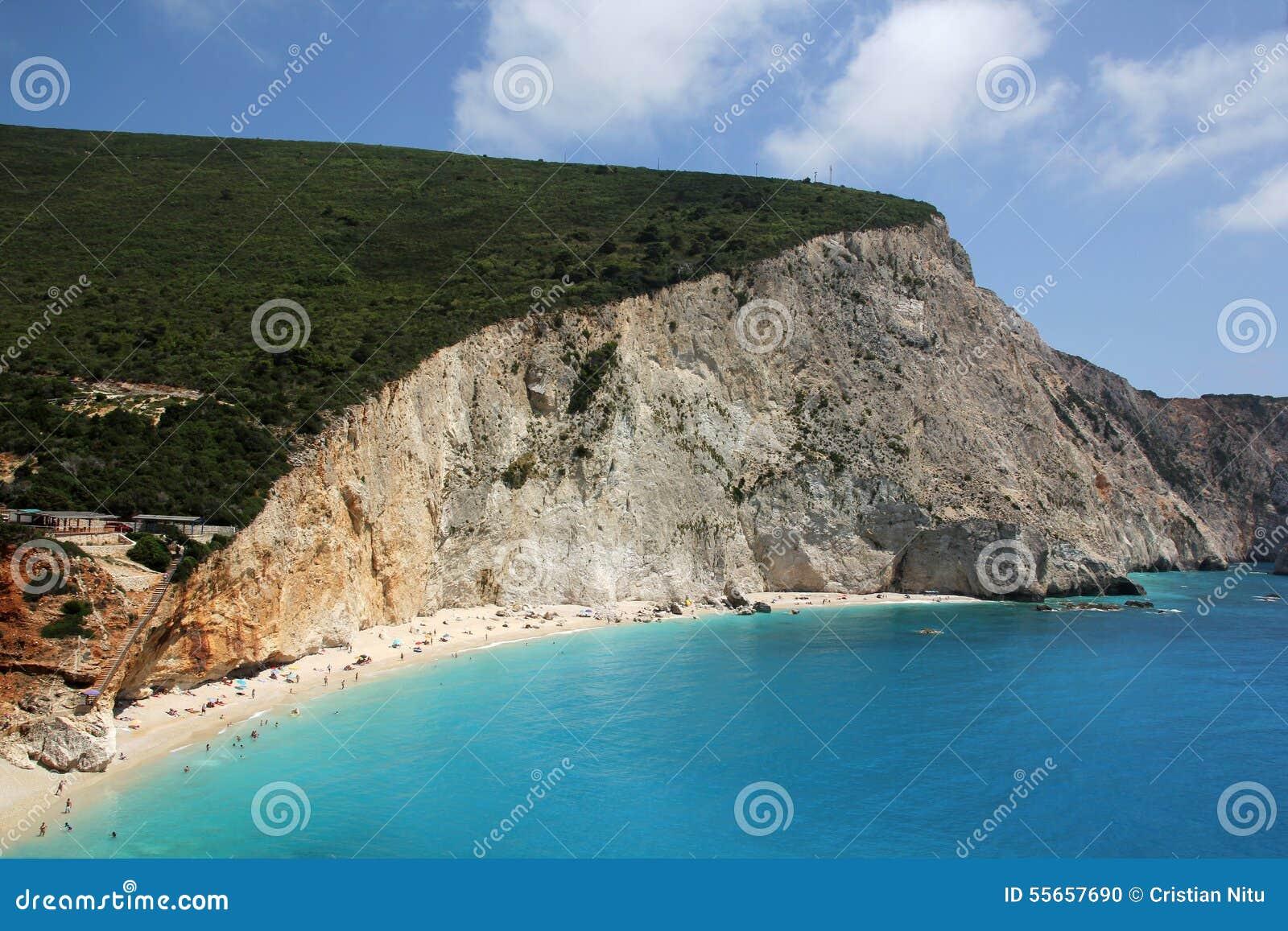 Aerial View of Porto Katsiki Beach, Lefkada Island