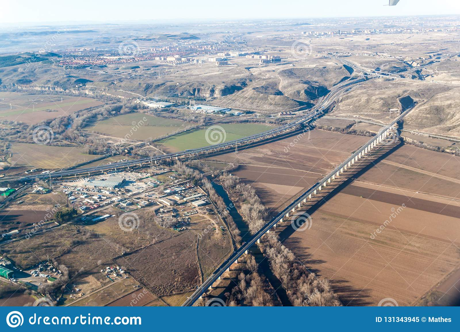Aerial view of R3 motorway and a high speed rail