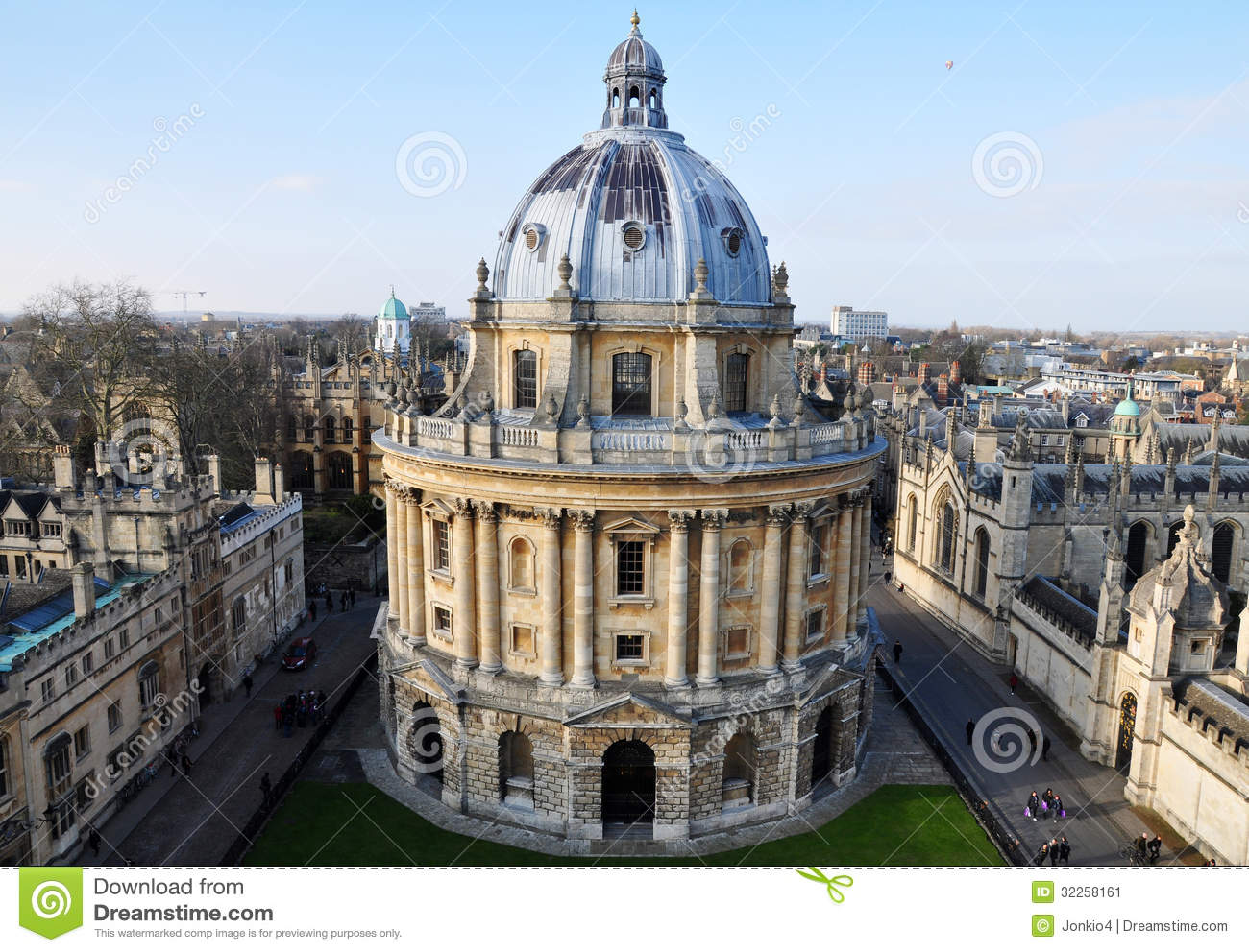 Aerial View Of The Radcliffe Camera Oxford Uk Stock