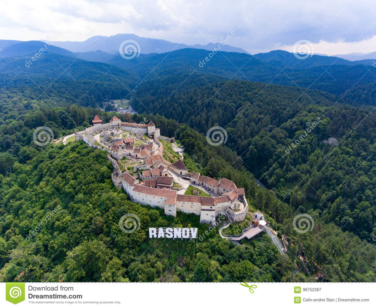 Aerial view of Rasnov Fortress Romania