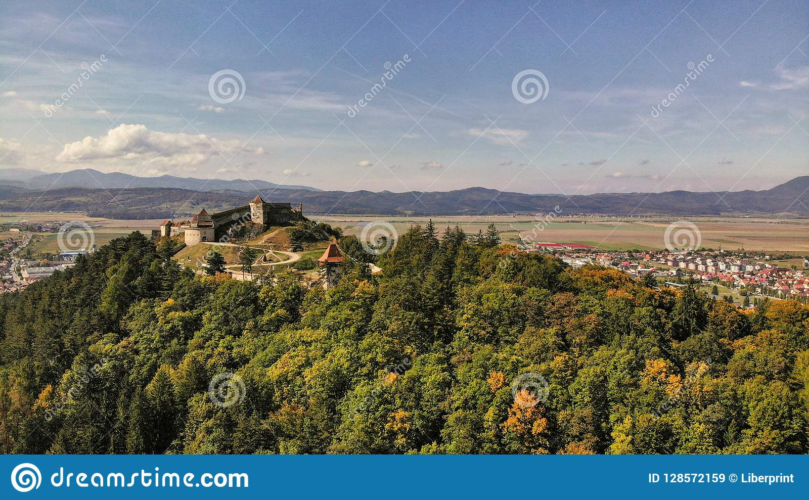 Aerial view of Rasnov town and Fortress