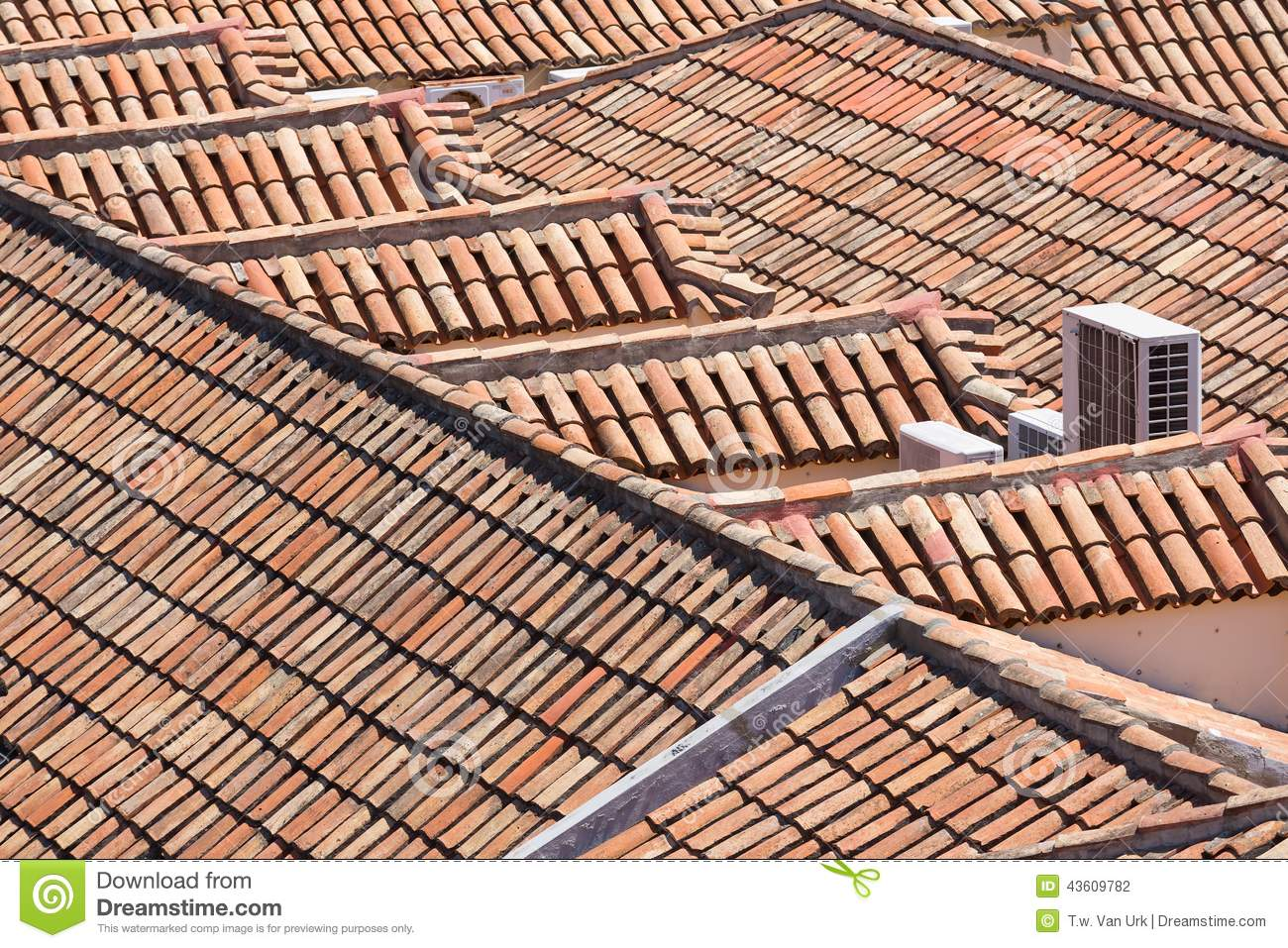 Aerial View Of Red Tile Roofs Stock Photo Cartoondealer