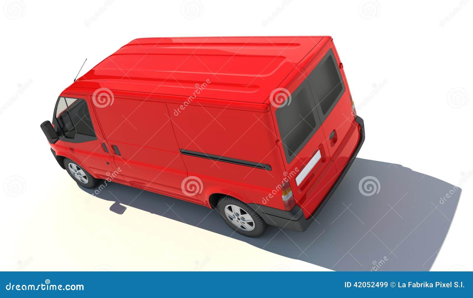 Aerial view of red van