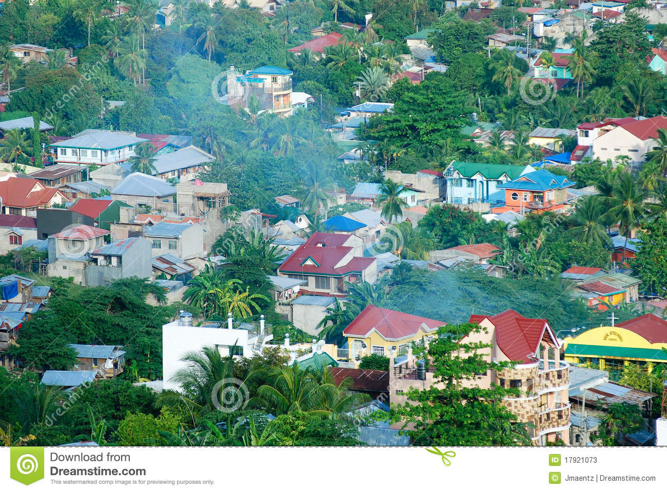 Aerial view of a residential neighborhood