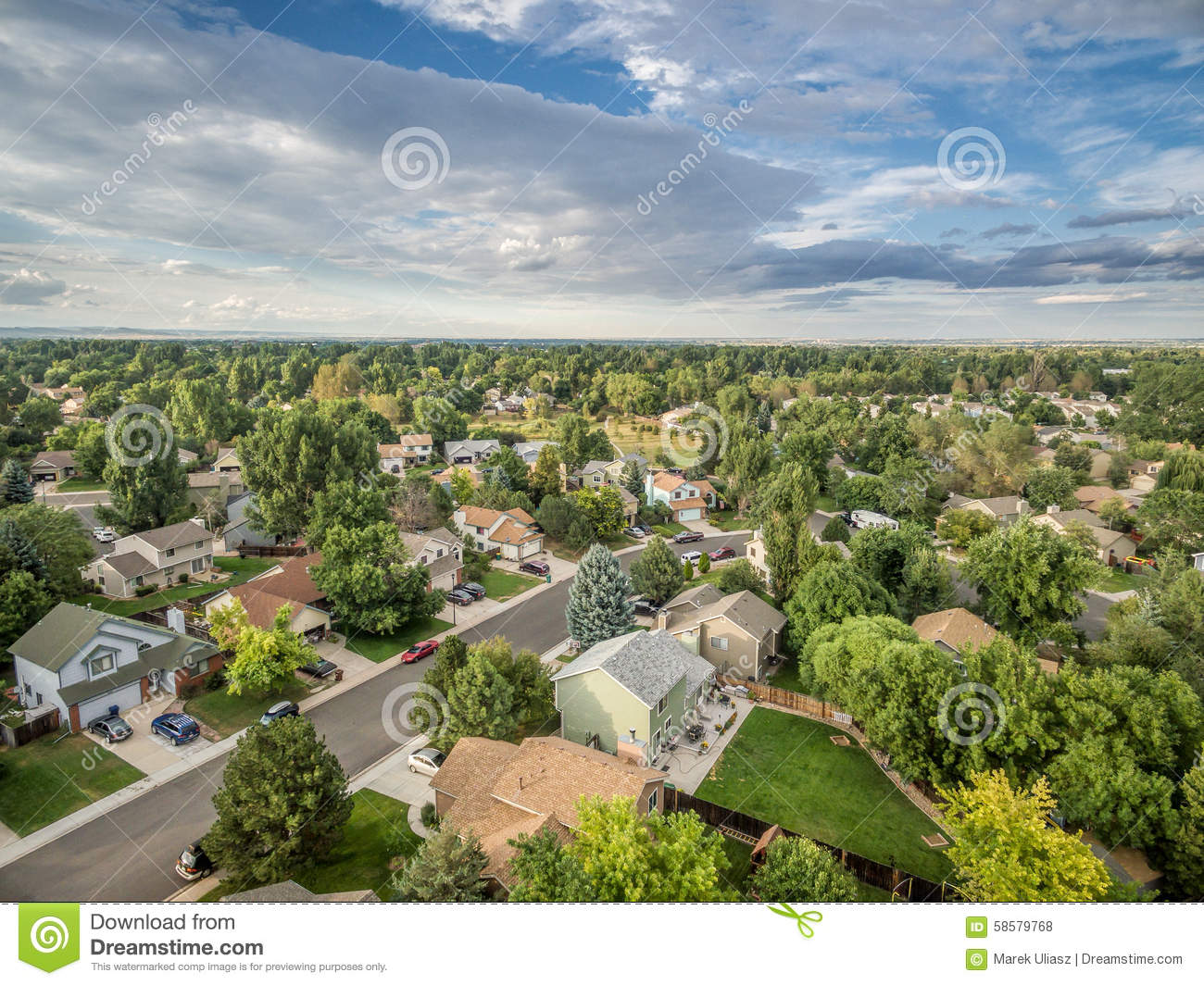 Aerial view of residential street in fort collins - Olive garden fort collins colorado ...