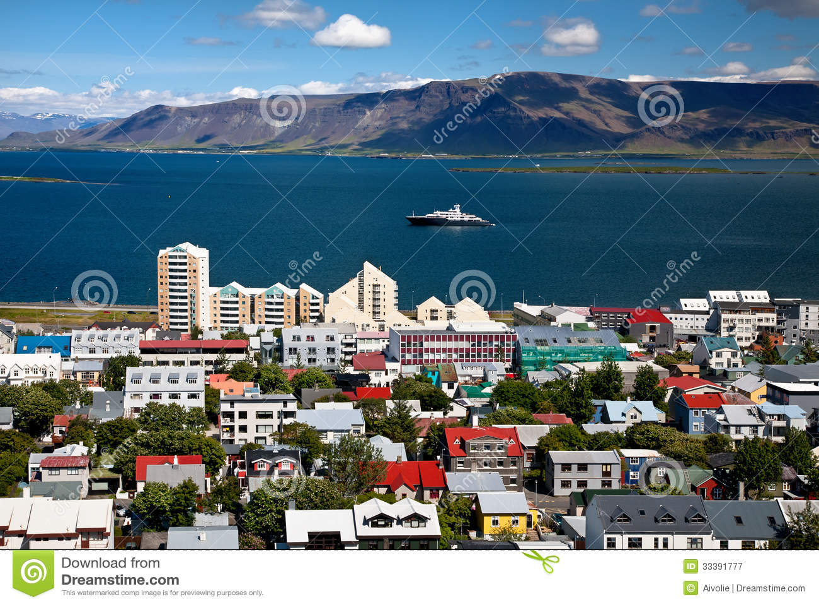 Aerial View Of Reykjavik, Capital Of Iceland Royalty Free ...