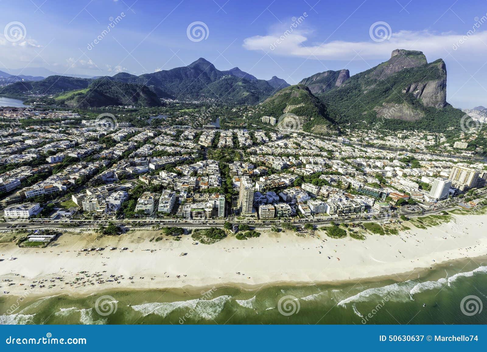 Aerial view of Rio De Janeiro s Barra Da Tijuca beachfront