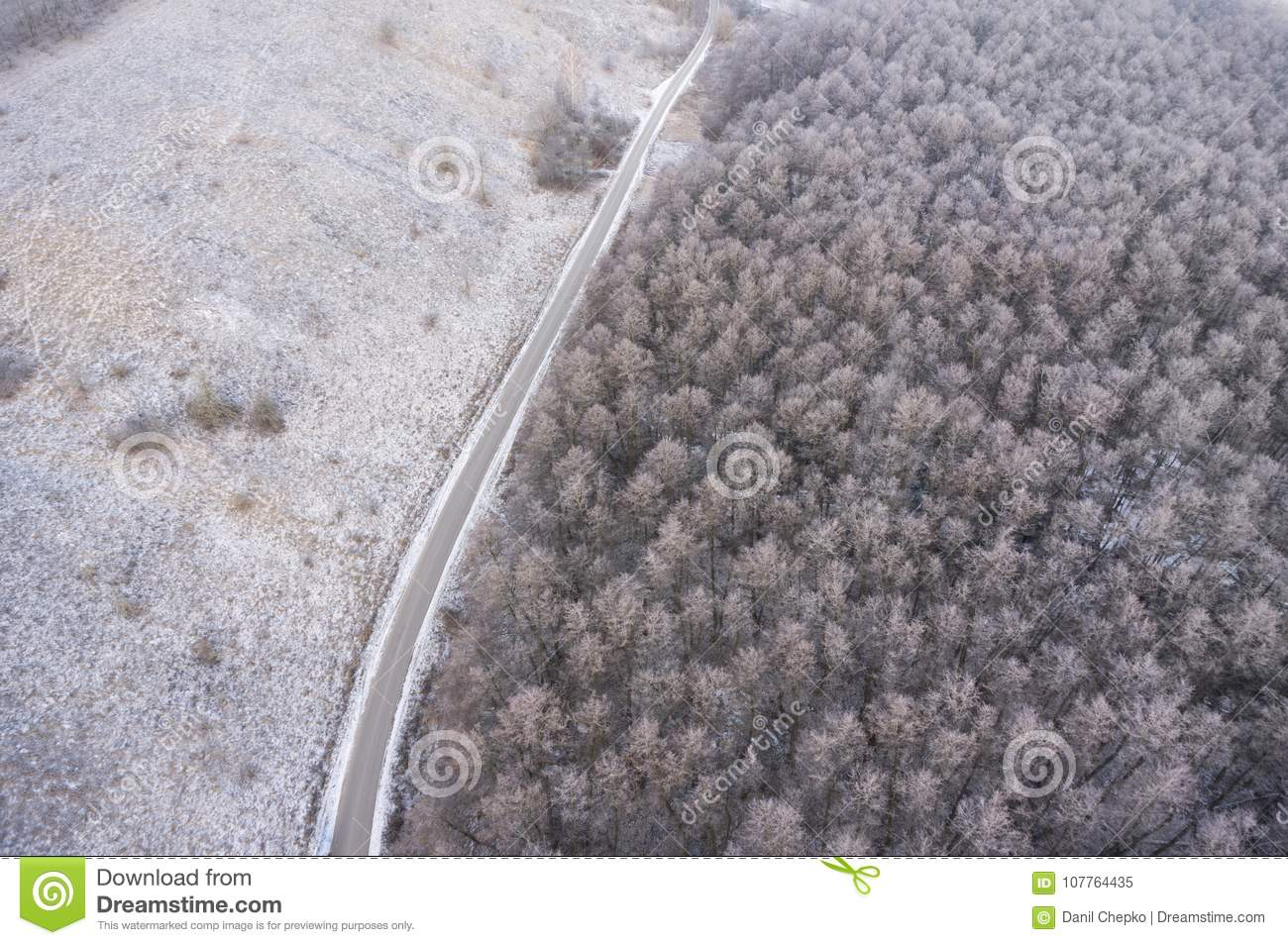 Aerial view on road and forest landscape in winter season.