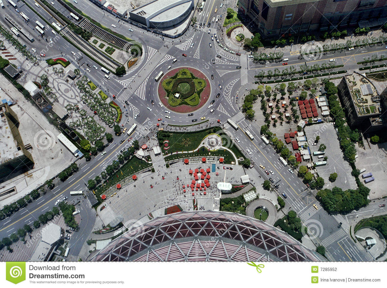 Aerial View Of A Road Intersection Stock Photography - Image: 7285952