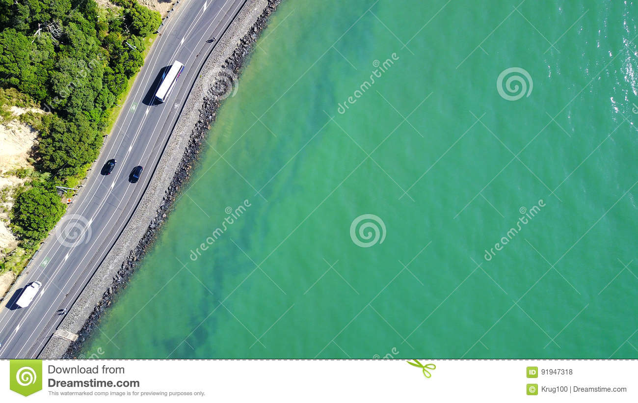 Aerial View On A Road Running Along Sea Shore  Auckland, New