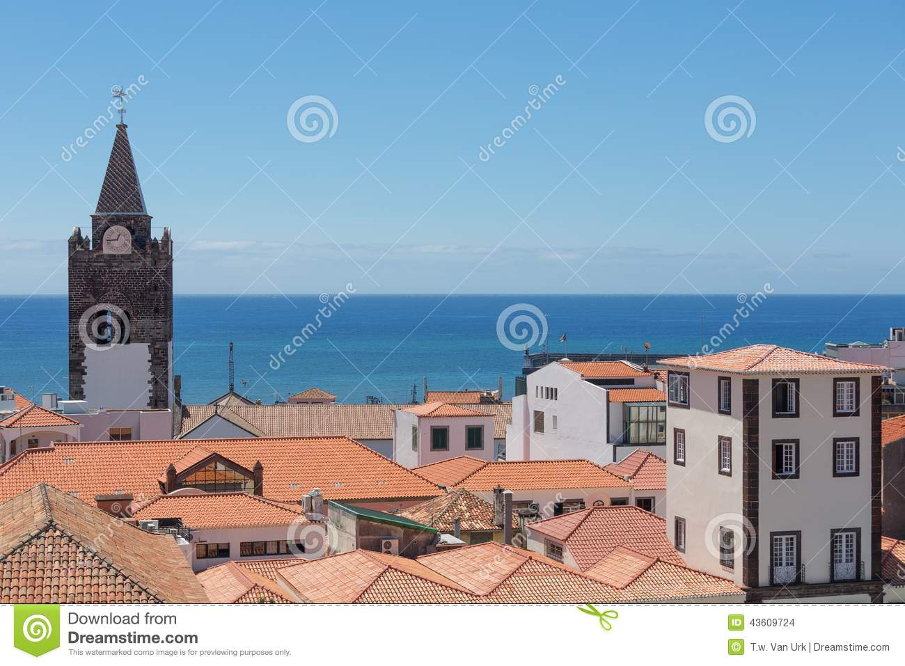 Aerial view roofs of Funchal with cathedral tower, Madeira, Portugal