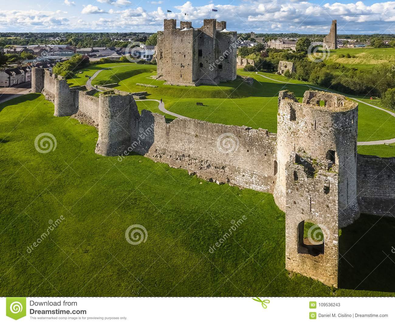 Aerial view. Trim Castle. county Meath. Ireland