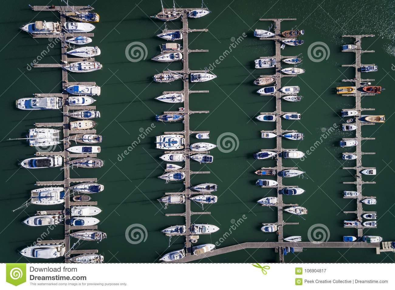 Aerial view of sail boats docked in a Marina in Portimao, Algarve
