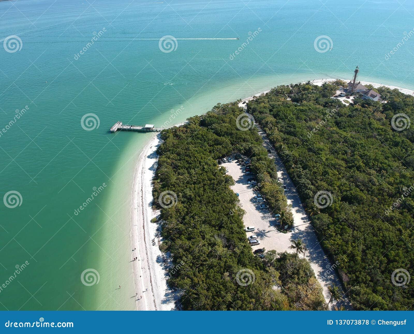 Aerial view of Sanibel beach