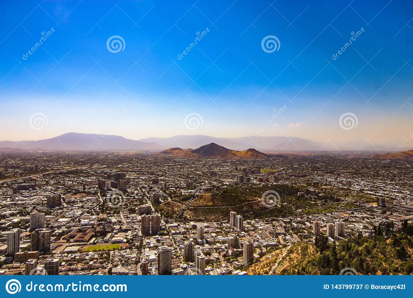 Aerial view of Santiago city, Chile
