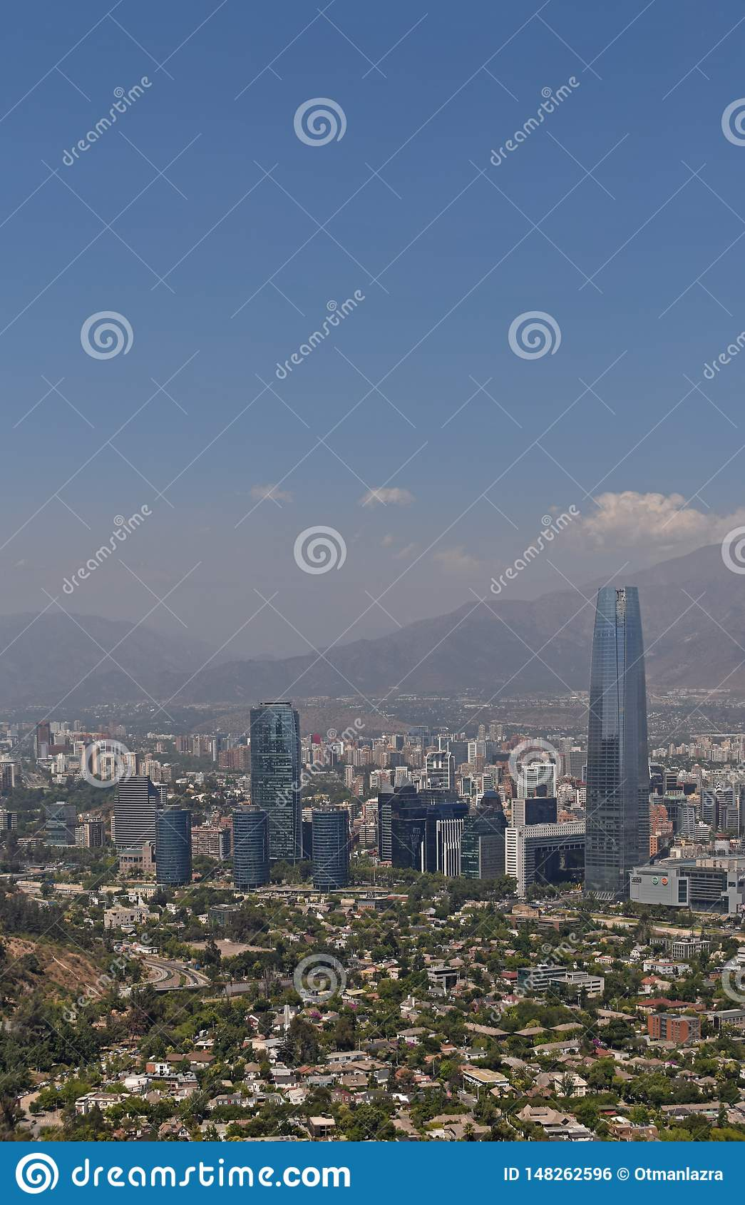 Aerial view of santiago de chile city from san cristobal hill point of view.