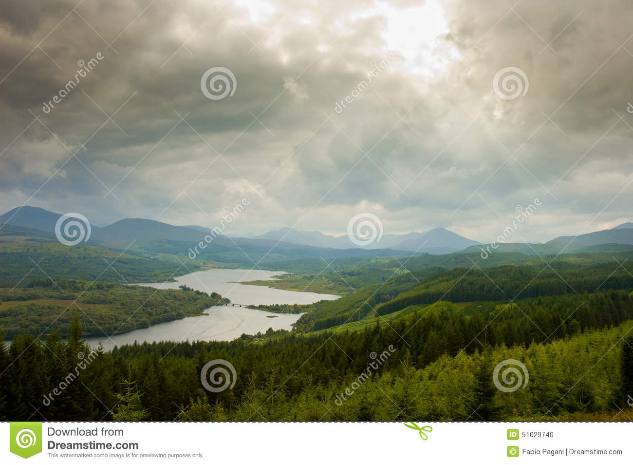 Aerial view of Scotland, highlands, with dramatic cloudy sky
