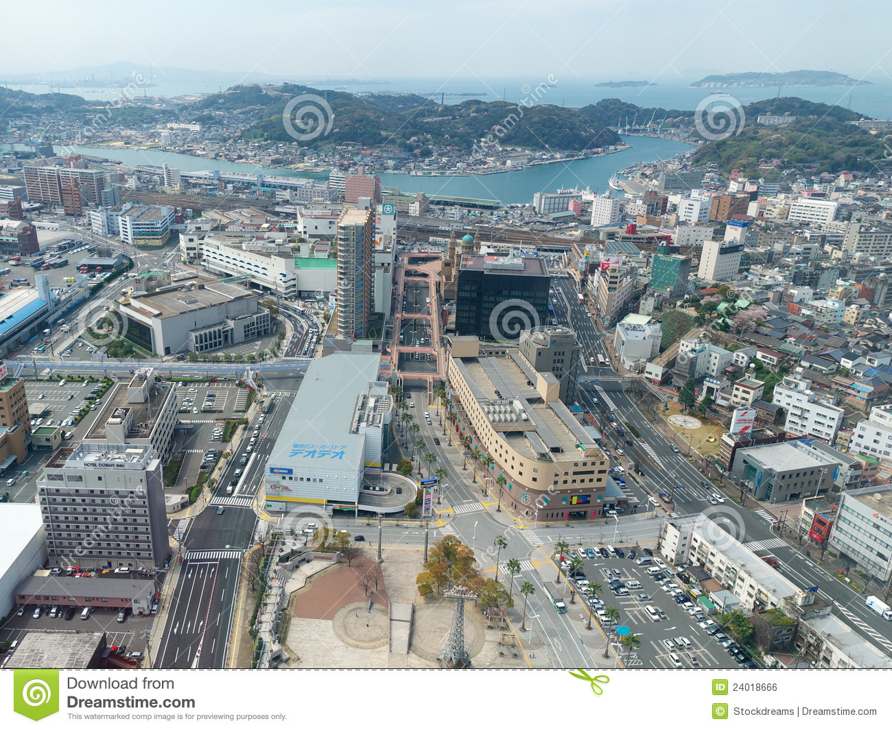 Shimonoseki Japan  city images : Aerial View Of Shimonoseki, Japan Editorial Photo Image: 24018666