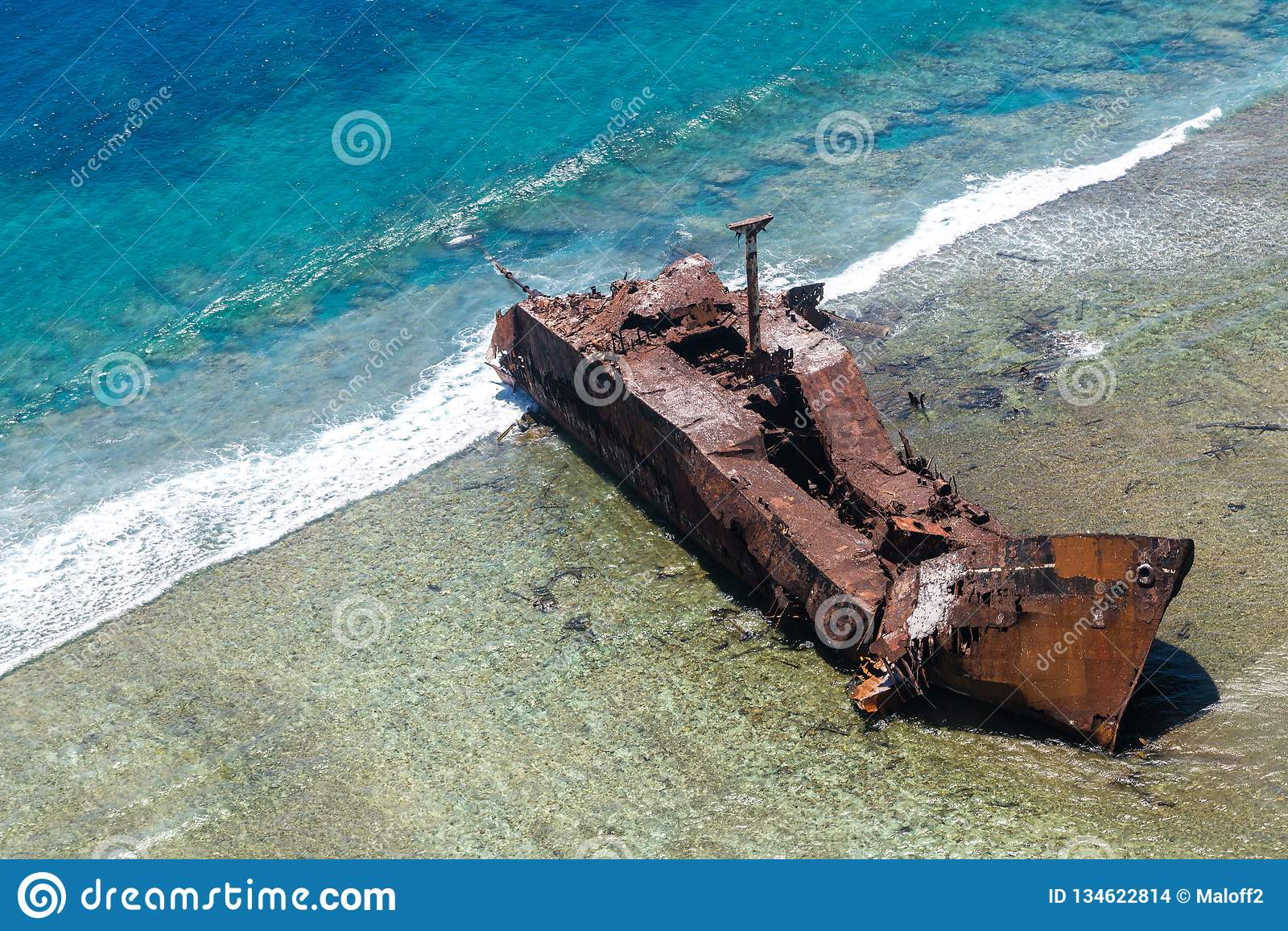 Aerial view of the shipwreck site of MV Ever Prosperity ship, Monrovia, Liberia. Coral sea, New Caledonia, Oceania.