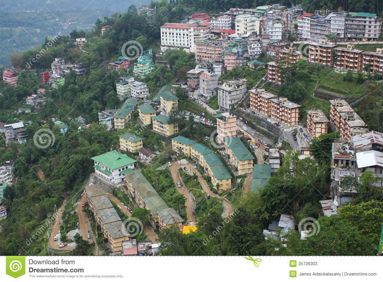 Aerial View Of Gangtokcapital City Of Sikkim Stock Photos  : aerial view sikkim taken rope car 35728303 from www.dreamstime.com size 1300 x 957 jpeg 296kB